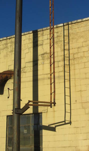 Photograph - Block Wall With Pipe And Ladder by Anita Burgermeister