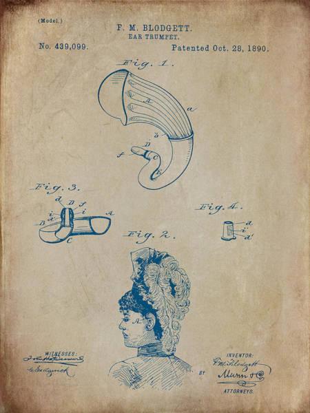 Digital Art - Blodgett Ear Trumpet Patent 1890 by Paulette B Wright