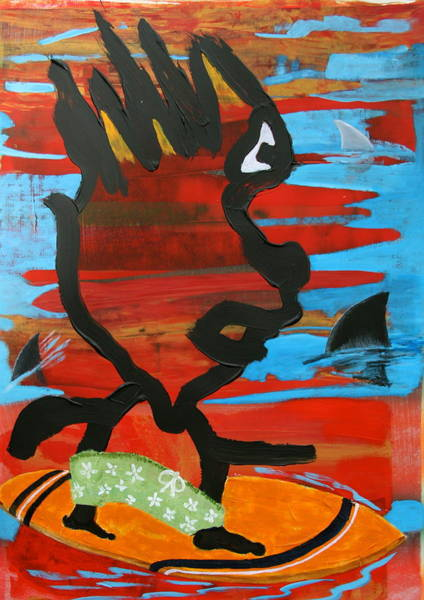 Wall Art - Painting - Blood In The Water by Dan Koon