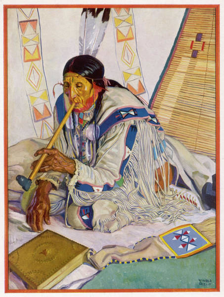 Wall Art - Drawing - Blood Indian, Waterton Lake  National by Mary Evans Picture Library