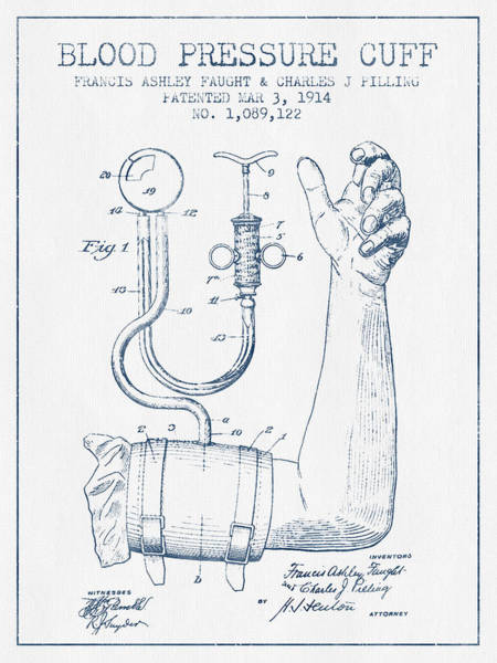 Blood Pressure Wall Art - Digital Art - Blood Pressure Cuff Patent From 1914 - Blue Ink by Aged Pixel