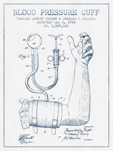 Pressure Wall Art - Digital Art - Blood Pressure Cuff Patent From 1914 - Blue Ink by Aged Pixel