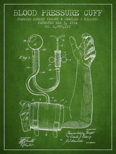 Pressure Wall Art - Digital Art - Blood Pressure Cuff Patent From 1914 -green by Aged Pixel