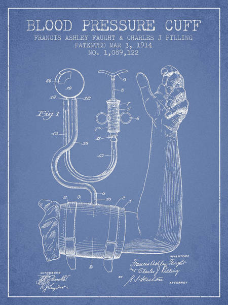 Pressure Wall Art - Digital Art - Blood Pressure Cuff Patent From 1914 -light Blue by Aged Pixel