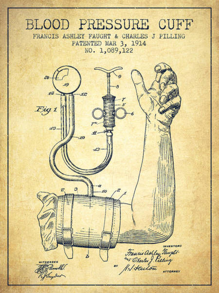 Blood Pressure Wall Art - Digital Art - Blood Pressure Cuff Patent From 1914 -vintage by Aged Pixel