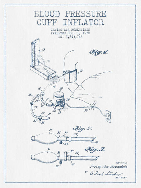Pressure Wall Art - Digital Art - Blood Pressure Cuff Patent From 1970 - Blue Ink by Aged Pixel