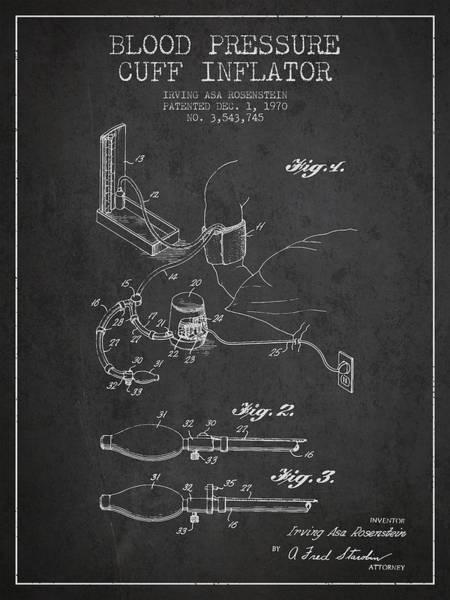 Pressure Wall Art - Digital Art - Blood Pressure Cuff Patent From 1970 - Dark by Aged Pixel