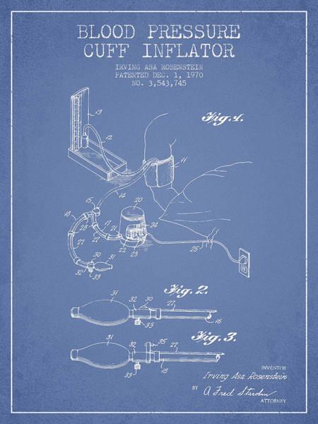 Pressure Wall Art - Digital Art - Blood Pressure Cuff Patent From 1970 - Light Blue by Aged Pixel