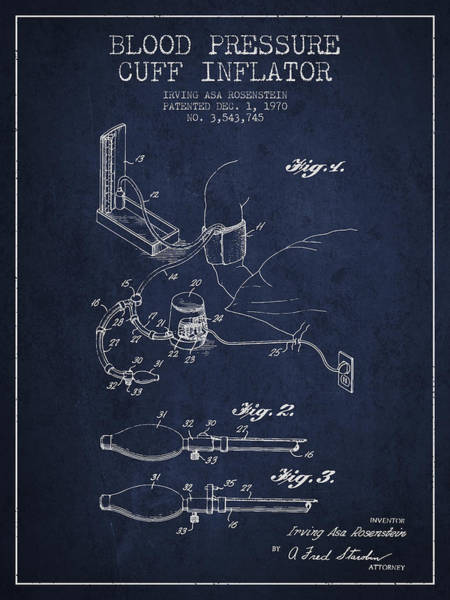 Pressure Wall Art - Digital Art - Blood Pressure Cuff Patent From 1970 - Navy Blue by Aged Pixel