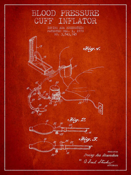 Blood Pressure Wall Art - Digital Art - Blood Pressure Cuff Patent From 1970 - Red by Aged Pixel