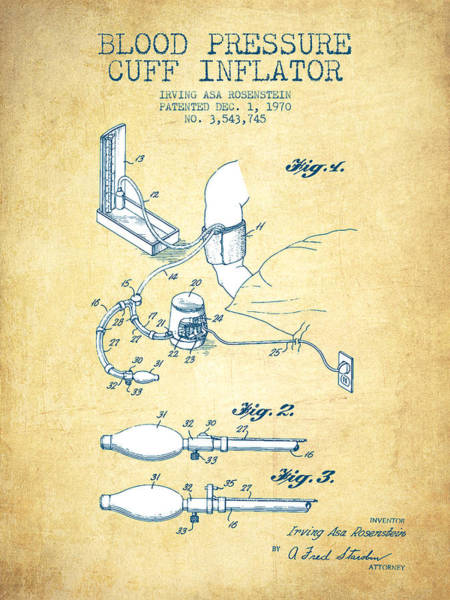 Blood Pressure Wall Art - Digital Art - Blood Pressure Cuff Patent From 1970 - Vintage Paper by Aged Pixel