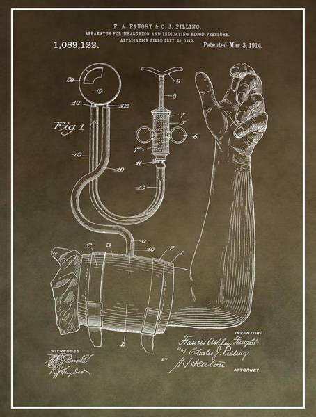 Mixed Media - Blood Pressure Machine Patent by Dan Sproul