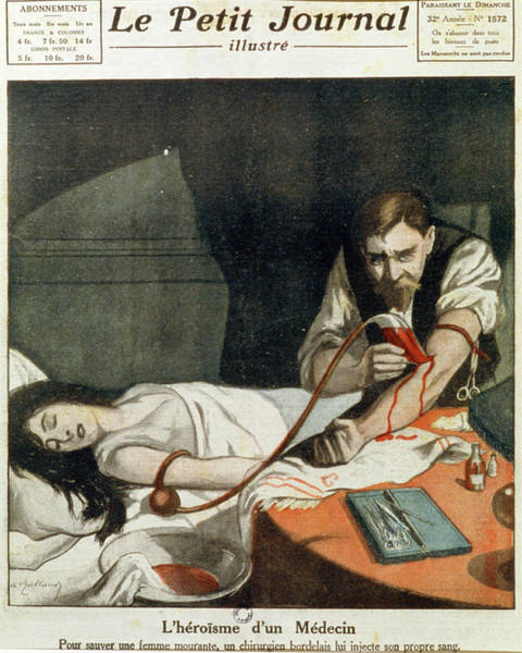 Wall Art - Photograph - Blood Transfusion by Jean-loup Charmet/science Photo Library