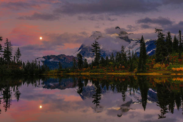 Blood Moon Wall Art - Photograph - Bloodmoon Rise Over Picture Lake by Eti Reid