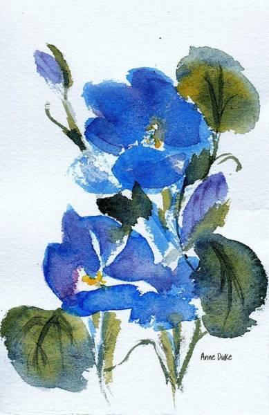 Hibiscus Flower Painting - Blooming Blue by Anne Duke