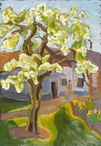 Fruit Trees Wall Art - Photograph - Blooming Pear Tree, 2008 Oil On Board by Marta Martonfi-Benke