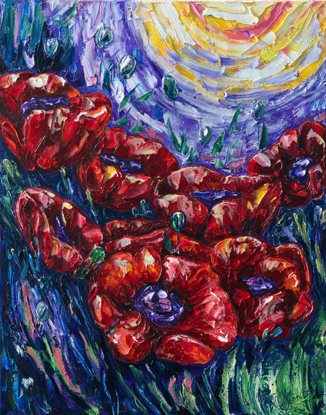 Painting - Blooming Poppies by OLena Art - Lena Owens
