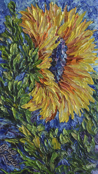 Painting - Blooming Sunflower by OLena Art - Lena Owens