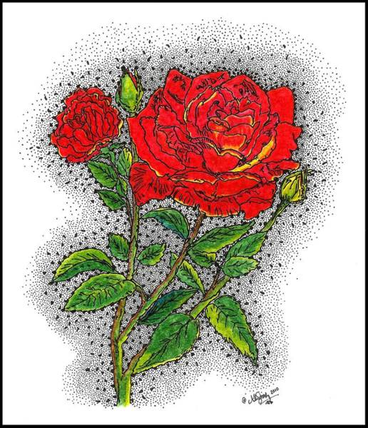 Stipple Drawing - Blooming Too by Glenn McCarthy Art and Photography