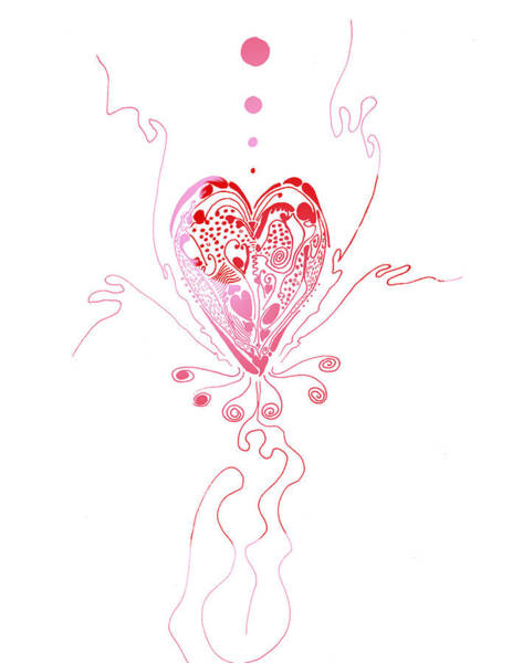 Drawing - Blossoming Love Pink And Red Valentine by Regina Valluzzi