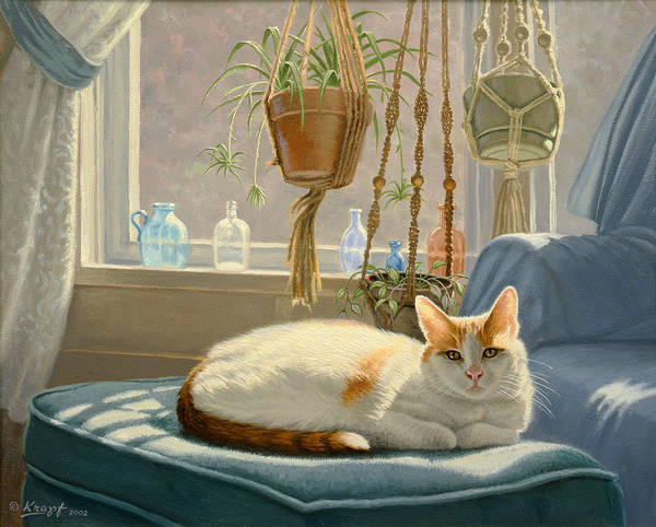 House Cat Wall Art - Painting - Blossom's Place by Paul Krapf