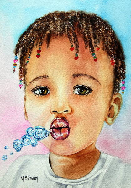 Painting - Blowing Bubbles by Maria Barry