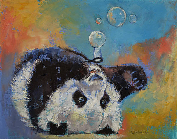 Panda Painting - Blowing Bubbles by Michael Creese