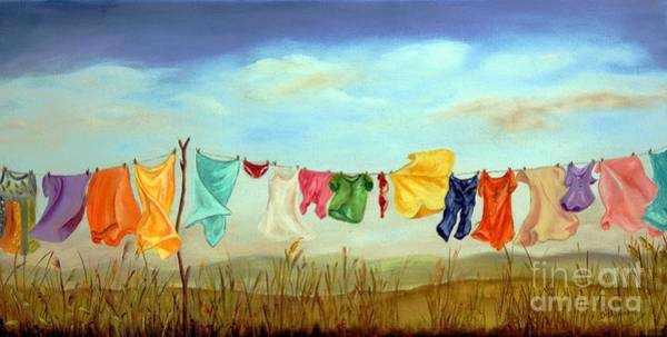 Clothesline Painting - Blowing In The Breeze by Anna-maria Dickinson