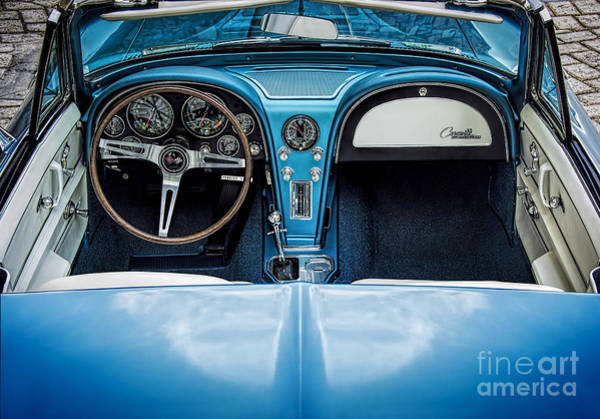 Photograph - Blue 66 Sting Ray Interior by Ken Johnson