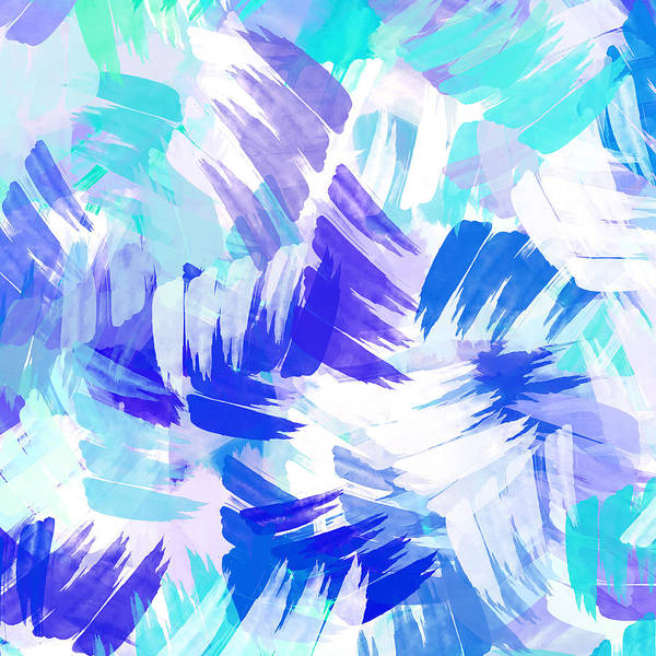 Mixed Media - Blue Abstract Paint Pattern by Christina Rollo