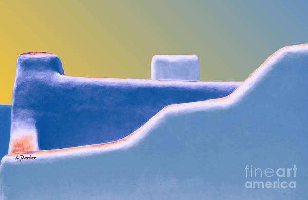 Southwest Digital Art - Blue Adobe Rooftop  by Linda  Parker