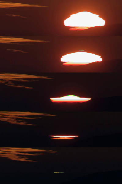 Flash Photograph - Blue And Green Flashes At Sunset by Babak Tafreshi/science Photo Library