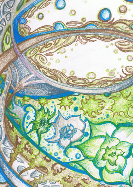 Earthy Drawing - Blue And Green Floral Abstract With Decor by Laura Noel