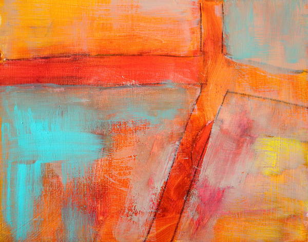 Atmospheric Painting - Blue And Orange by Nancy Merkle