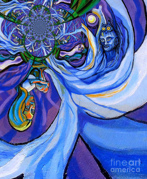 Depressed Digital Art - Blue And Purple Girl With Tree And Owl Upside Down by Genevieve Esson