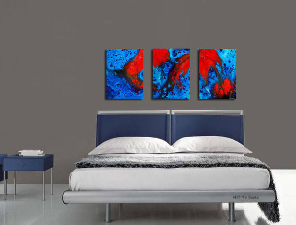 Painting - Blue And Red Abstract Hung As A Triptych by Sharon Cummings