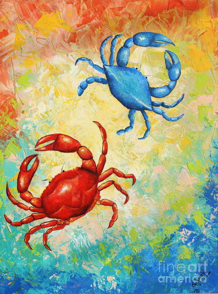 Wall Art - Painting - Blue And Red Crabs  by Gabriela Valencia