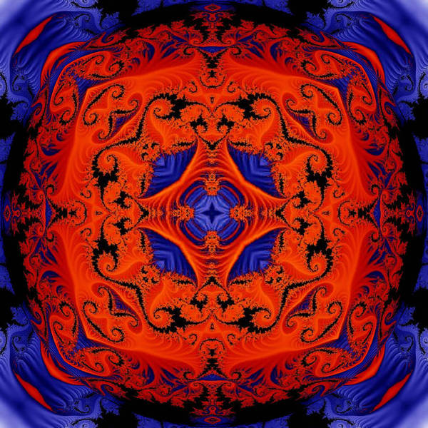Digital Art - Blue And Red Kaleidoscope by Charmaine Zoe
