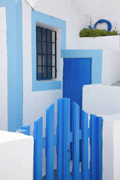 Village Gate Photograph - Blue And White, Imerovigli, Santorini by David C Tomlinson
