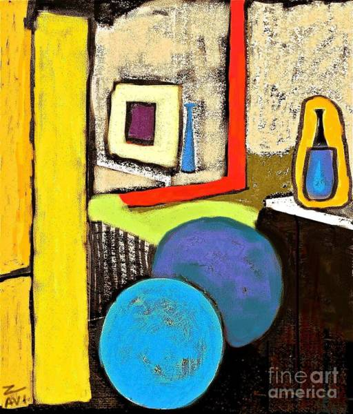 Avi Painting - Blue And Yellow Interior. by Avi Zamir