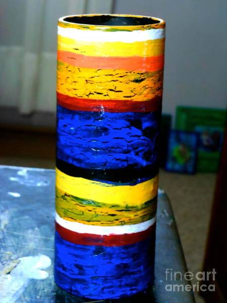 Utilitarian Painting - Blue And Yellow Vase by Genevieve Esson