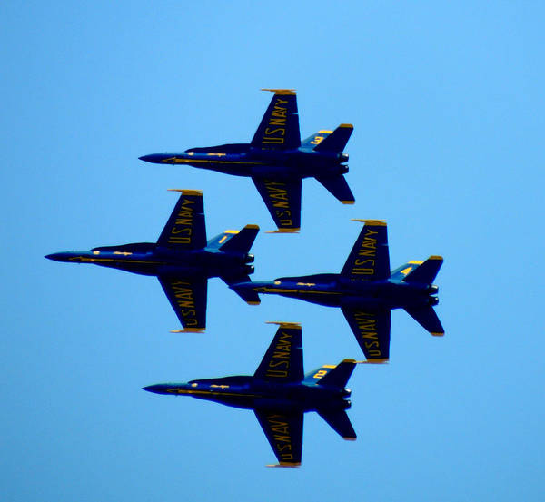 Photograph - Blue Angels Diamond Formation by Kimberly Perry