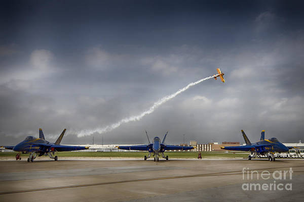Fort Worth Photograph - Blue Angels Fa 18 With Grumman Biplane by Douglas Barnard