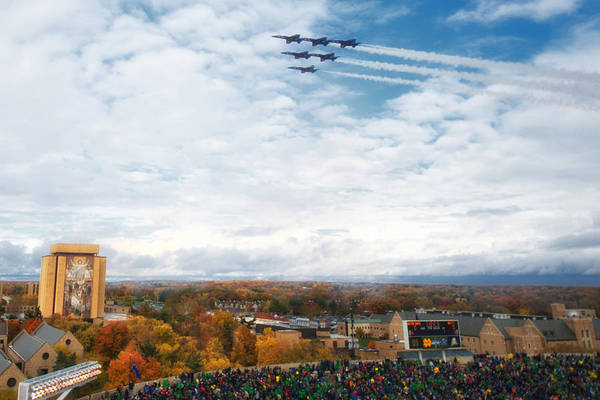 Wall Art - Photograph - Blue Angels Over Notre Dame Stadium by Mountain Dreams
