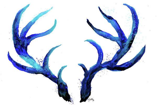 Antlers Digital Art - Blue Antlers by Elizabeth Medley