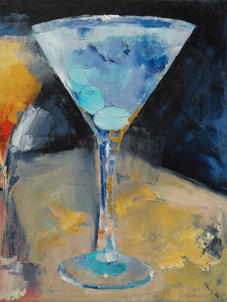 Martini Glasses Painting - Blue Art Martini by Michael Creese