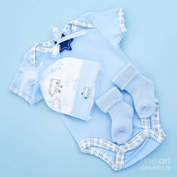 Wall Art - Photograph - Blue Baby Clothes For Infant Boy by Elena Elisseeva