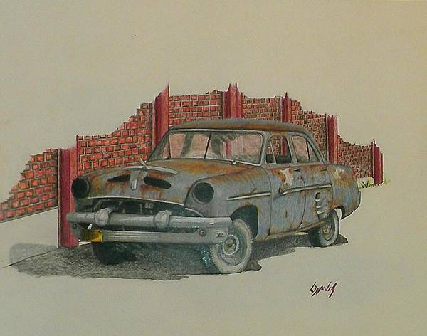 Old Red Truck Drawing - Blue Baby by Lew Davis