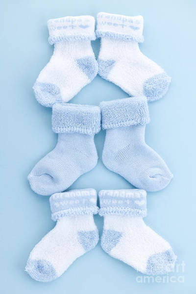 Wall Art - Photograph - Blue Baby Socks by Elena Elisseeva