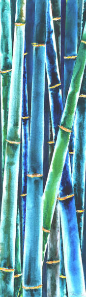 Wall Art - Painting - Blue Bamboo by Rosemary Craig